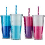 Double Wall Colour Changing Tumblers 2pk With Straw