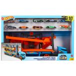 Hot Wheels Lift and Launch Hauler with 10 Hot Wheels Vehicles
