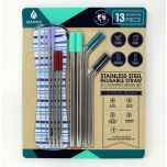 Manna Stainless Steel Reusable Straw & Cleaning Brush Set 13 Pieces