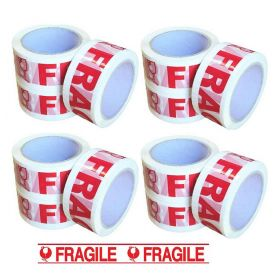12 X Fragile Packing Tape  White Red 48mm x 75m