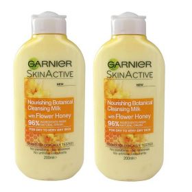 2 X Garnier Natural Honey Flower Cleansing Milk Dry Skin 200ml
