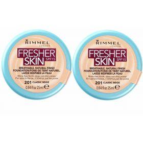 2 X Rimmel Fresher Skin Foundation 201 Classic Beige SPF15 25ml