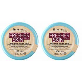 2 X Rimmel London Fresher Skin Foundation100 Ivory 25 ml