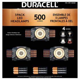 3 Pack Duracell 500 lumen Headlamp