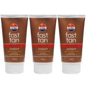 3 x Le Tan 150ml Fast Tan Instant Self Taning Lotion Deep Bronze