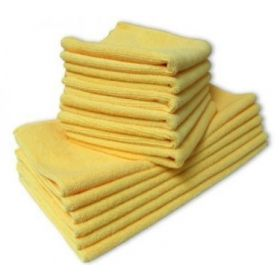 36 x Microfibre Towels Thick & Ultra Soft Yellow Cleaning Cloths Cars 40 x 40cm