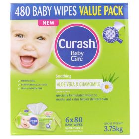 6 X Curash Baby Wipes Aloe & Chamomile 80 Pack