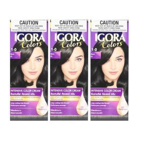 3 X Schwarzkopf Professional Igora  Permanent Color Creme 1-0 BlacK