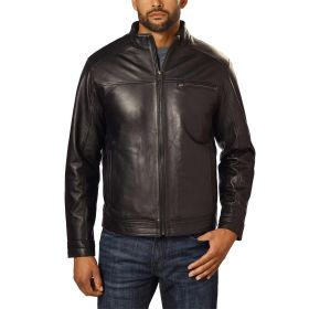 Boston Harbour Men's Leather Jacket Black-XL
