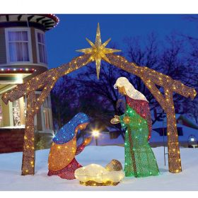 Christmas LED Fabric Nativity Set With 245 LED lights