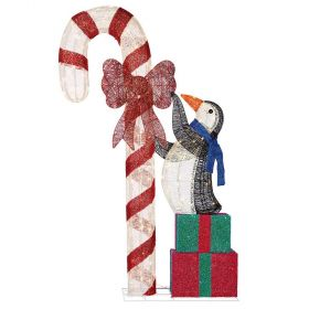 Christmas LED Penguin With Candy Cane