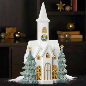 Christmas Snowy Church with Led Lights