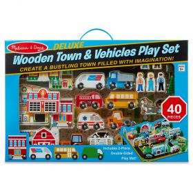 Deluxe Wooden Town And Vehicle Play Set - 40 Pieces