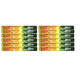 12 X Glad Cling Wrap Easy Cut Refill 50m x 33cm