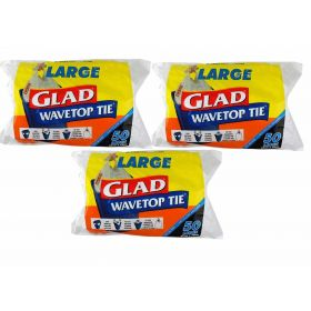 3 X Glad Wave Top Kitchen Tidy Large 36 Litre White Roll 50 Bags