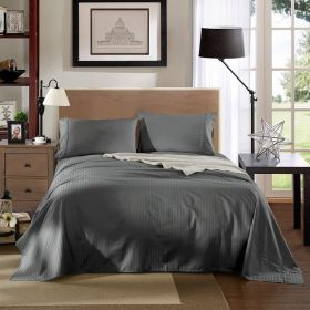 Kensington 1200TC Ultra Soft 100% Egyptian Cotton Queen Bed Sheet Set In Stripe Charcoal