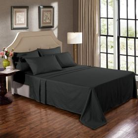 Kensington 1200TC Ultra Soft 100% Egyptian Cotton Mega Queen Bed Sheet Set In Stripe Graphite