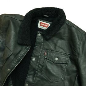 Levi's Men's Faux-Leather Trucker Jacket with Sherpa Lining-M
