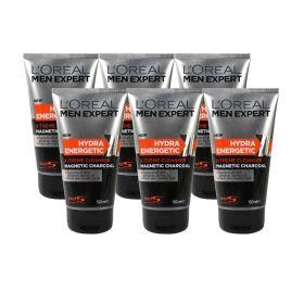 6 X Loreal Men Expert Hydra Energetic X-Treme Black Charcoal Face Wash 150ml