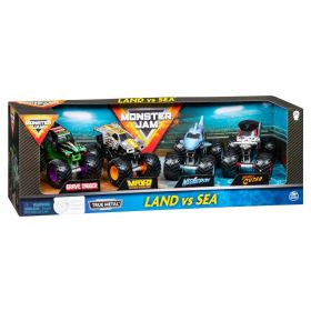 Monster Jam LAND VS SEA True Metal Trucks 4 Pack