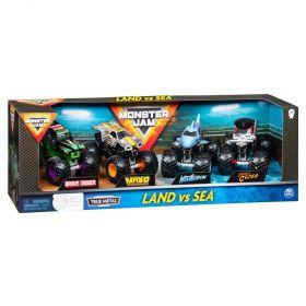 Monster Jam LAND VS SEA True Metal Trucks 4 Pack
