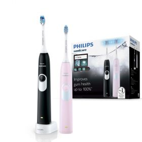 Philips Sonicare 2 Series Rechargeable Electric Toothbrush 2-handle Pack Pink/Black