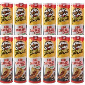 12 X Pringles Bbq Sausage & Onion Flavour 134g
