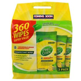 Pine O Cleen Antibacterial Disinfectant Surface Wipes Lemon & Lime 360 Pack