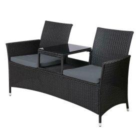 Gardeon Outdoor Furniture Chair Bench Sofa Table 2 Seat Cushions Wicker Black