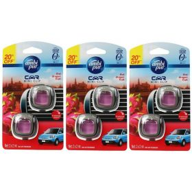 6 X Ambi Pur 2ml Car Air Freshener Mini Clip Thai Dragon Fruit