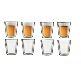 8 X Bodum Canteen Double Wall Coffee Glasses 200ml