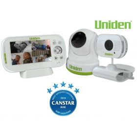 "Uniden BW3451R +1 Wireless Digital Baby Watch 4.3"" Monitor Remote 2 x Cameras"