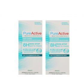 2 x Garnier Pure Active Matte Control Anti-Shine Anti-Blemish Moisturiser 50ml