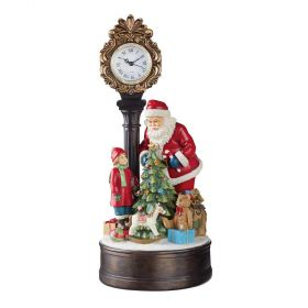 Santa Holiday Clock with LED Christmas Tree
