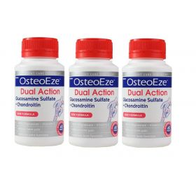 3 X Herron OsteoEze Dual Action Glucosamine Sulfate + Chondroitin 60 Tablets