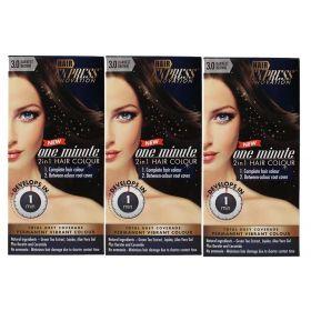 3 X Hair Express One Minute 2in1  Hair Colour 3.0 DARKEST BROWN