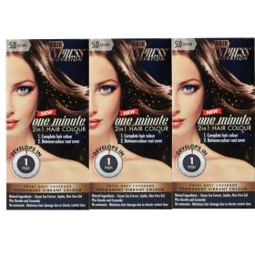 3 X Hair Express One Minute 2in1 Permanent Hair Colour 5.0 BROWN