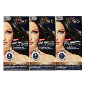 3 X Hair Express One Minute 2in1 Permanent Hair Colour 1.0 BLACK